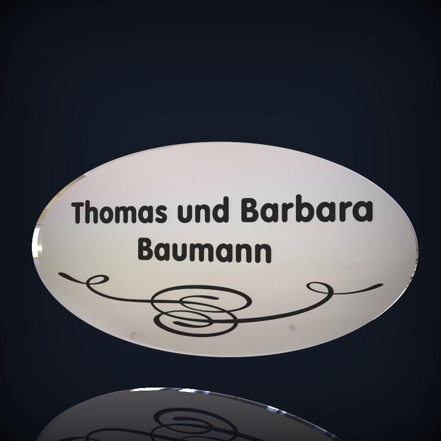 spiegel namensschild baumann lohner schilderwerkstatt